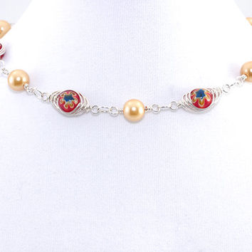 Millefiori Bead Choker – Red Gold Silver Filled Wire Wrap Protection Necklace – Evil Eye Jewelry – Birthday Gift for Her