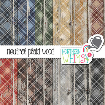 Plaid Wood Digital Paper - neutral plaid patterns on peeling paint - distressed wood scrapbook paper - printable paper - commercial use OK