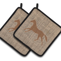 Horse Faux Burlap and Brown   Pair of Pot Holders BB1003-BL-BN-PTHD