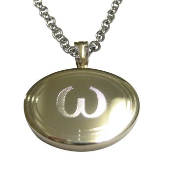 Gold Toned Etched Oval Greek Lowercase Letter Omega Pendant Necklace
