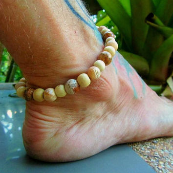 Jasper Stone & Petrified Wood Beaded Anklet / Mens Ankle Bracelet / Hippie Surfer Ankle Bracelet / Stretchy Beaded Anklet / Beaded Manklet