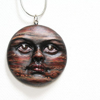 OOAK Planet pendant, Jupiter portrait sculpture handmade and hand painted, original artwork as jewelry