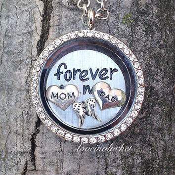 Mom Dad Memorial Locket, In Memory of My Parents, Parents Loss Gift, Memorial Floating Locket, Memorial Living Locket, Parents Memory Gift