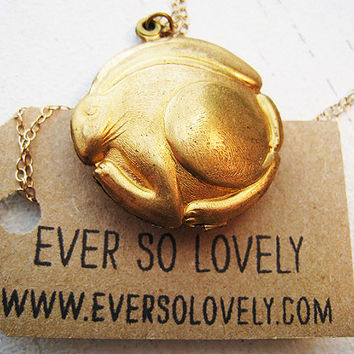 Vintage Brass Rabbit Locket on 14K Gold Chain Necklace / Fall Fashion / Lucky Rabbit