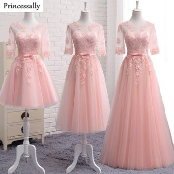 Robe De Soriee Sweet Pink Bridesmaid Dresses Embroidery Lace Half Sleeved Elegant Bride Vestido Prom Party Gown Cheap Under 50