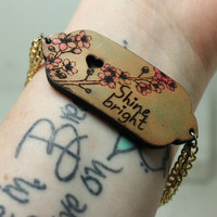 Shine bright Mantra bracelet Cherry blossom hand painted leather
