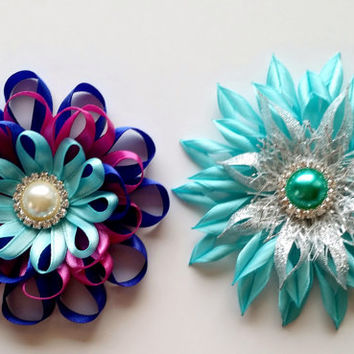 Frozen Anna and Elsa Loopy Hair Bow, Cute Baby Toddler Girl Flower Bow, Satin Bling Flower, Sparkly Hair Accessory, Hair Bow