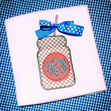 Girls mason jar shirt-mason jar applique monogram-sweet tea-southern girls summer- beach wear gingham dots bow- girls polka dot ribbon