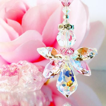 Pink Angel Car Charm for Rear View Mirror Swarovski Crystal Guardian Angel Car Accessories