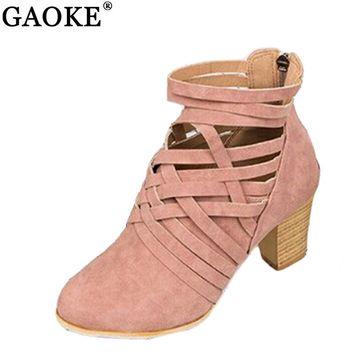 2018 Spring Women's Short Boots Hollow Out High-heeled Ankle Booties Fashion Shoes Woman Female Sandals Botas Mujer