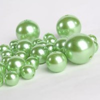 Wholesale Elegant Vase Fillers - 8 Ounce Bag (Approx 68 Pearls) Oversized Green Pearl Beads - Unique