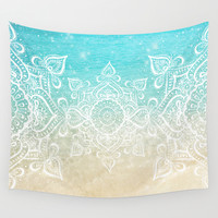 Beach Mandala Wall Tapestry by Jenndalyn