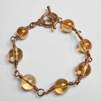 Golden Shimmer Luster and Antique Copper Wire Wrapped Bracelet