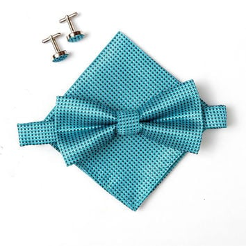 Men's Bow Tie Set includes Matching Pocket Square and Cufflinks - Teal