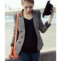 Long Sleeve Autumn New Style Euro Style British Style Vintage Lattice Splicing Fur Double-breasted Women Blends As Picture Suit Coat S/M/L @WH0375ap $22.99 only in eFexcity.com.