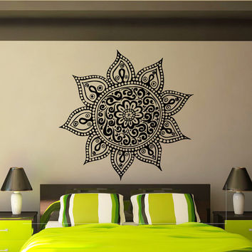 Mandala Wall Decal Vinyl Sticker Yoga Lotus Flower Indian Pattern Wall Decals Murals Bedroom Dorm Yoga Studio Om Wall Art Home Decor Z847