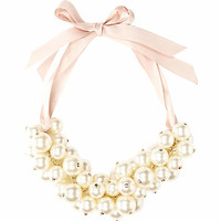 Cream pearl clustered ribbon necklace