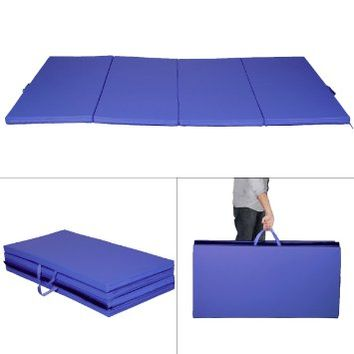 "Giantex Blue 4'x8'x2"" Thick Folding Panel Gymnastics Mat Gym Fitness Exercise Mat"