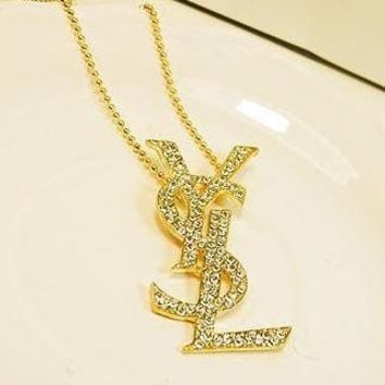 YSL luxury letters set with a long diamond necklace for the ladies