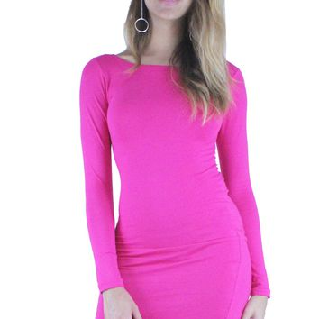 Summer Light Weight Long Sleeve Crew Neck Stretch Bodycon Midi Dress