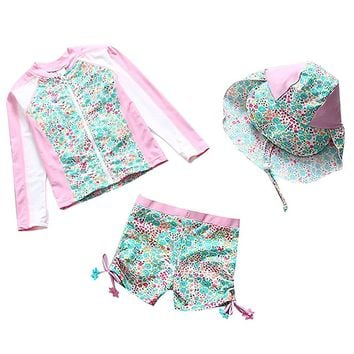 Baby Toddler Girls Long Sleeve Swimsuit Kids Two Pieces Rash Guard Sunsuit With Hat UPF 50+ UV (1-6Years)