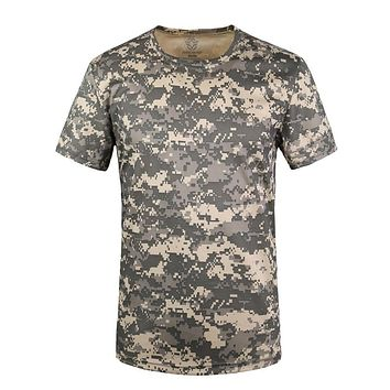 Coolmax Tactical Camouflage T Shirt Men Breathable Quick Dry US Army Combat T-Shirt Hunt T shirts