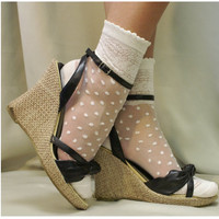 Lace socks for heels and Polka dots - Oh, so sweet for your feet lighweight for heels and flats delicate lace pattern around your ankle