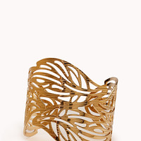 FOREVER 21 Earthy Etched Leaf Cuff Gold One