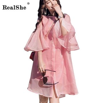 Trendy RealShe Round Collar Cardigan Women Jacket Fashion Ruffle Sleeve Pink Organza Summer Jacket Women Casual Jackets Coats Womens AT_94_13