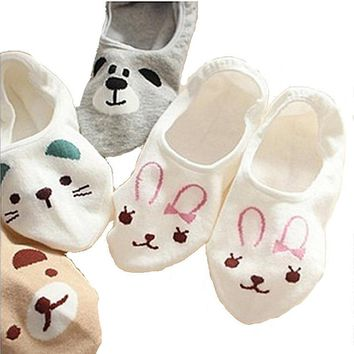 5 Colors Cartoon Panda Rabbit Cat Slippers Animal Cotton Socks Funny Crazy Cool Novelty Cute Fun Funky Colorful