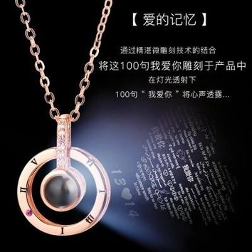 Fashion Charm Women Necklaces 100 Languages I Love You Memory Necklace Female Rose Gold Roman Numerals Crystal Pendant Necklace