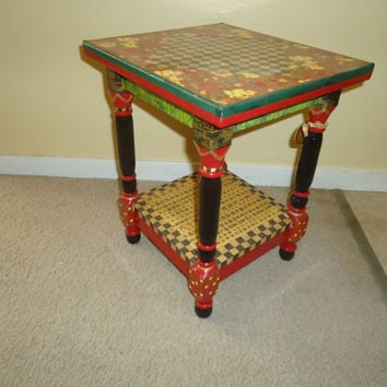 Asian Floral Themed End Table, Bench or Plant Stand