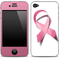 Breast Cancer Awareness skin On iPhone 4/4s Skin FREE SHIPPING