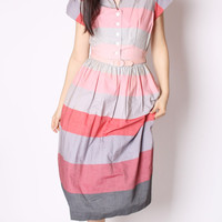 Vintage 50s Striped Cotton Colorblock Gray and Pink Mad Men Dress / 50s Cotton Dress / 50s Dresses / Stripes / 2188