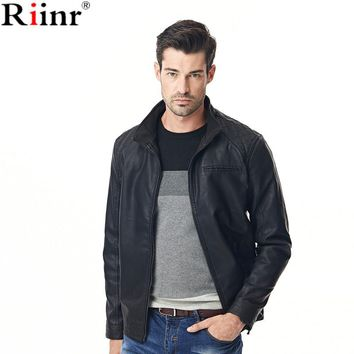 Fashion New Arrival Jackets Men High Quality Autumn Winter Warm Motorcycle Stand Collar Fleece Black Leather Jacket