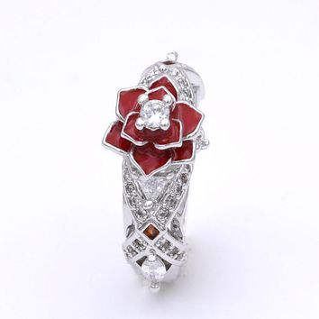 Floral Two Tone Promise Rose Women Ring with White and Red Zircon Fashion Charming Flower Wedding Rings Jewelry bague femme