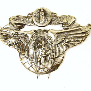 St Christopher Lady of the Highways Vintage Antique Sun Visor Automobile Boat Clip