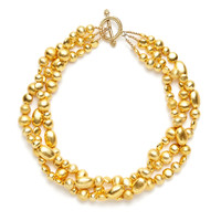 Gold Bead Triple Strand Necklace