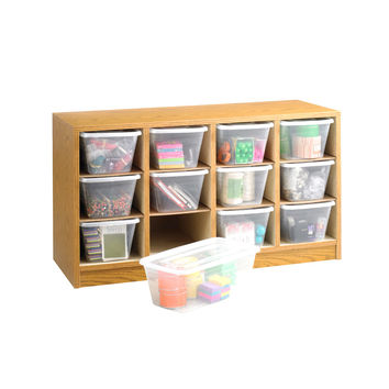 Safco School Office Supply Storage Wood 12 Compartment Bin Organizer Medium Oak