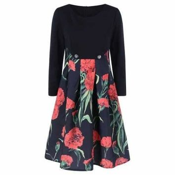 Fit and Flare Floral Patterned Dress - Black 2xl