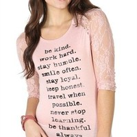 Three-Quarter Sleeve Raglan Top with Lace Sleeves and Be Kind Screen