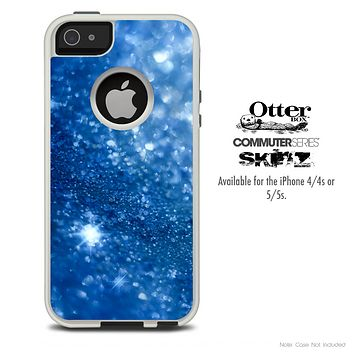 The Blue Unfocused Sparkle Skin For The iPhone 4-4s or 5-5s Otterbox Commuter Case