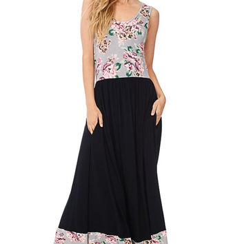 Gray & Black Sleeveless Floral-Solid Boutique Maxi Dress!