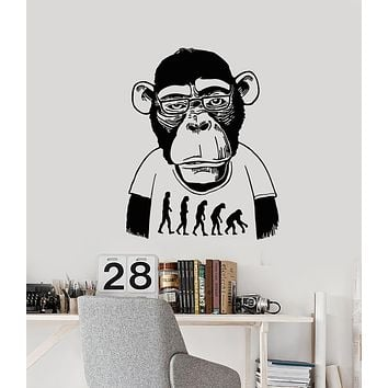Vinyl Wall Decal Monkey Professor Bespectacled Funny Animal Stickers (3279ig)