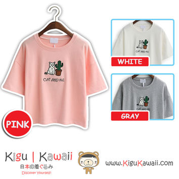 New Cat and Me Printed Blouse Summer Stylish Loose Tshirt Korean Style Tops 3 Colors KK728