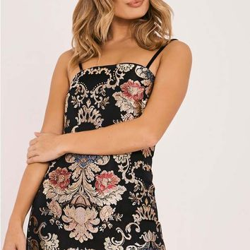 DANIFA BLACK FLORAL BROCADE MINI DRESS