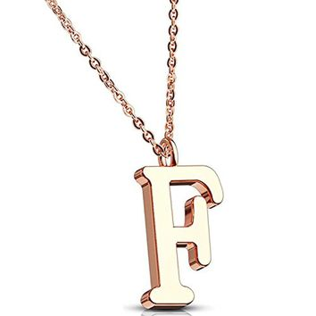 BodyJ4You Necklace Letter F Initial Alphabet Charm F Stainless Steel Rose Goldtone Chain