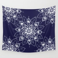 Blue Mandala Wall Tapestry by rskinner1122