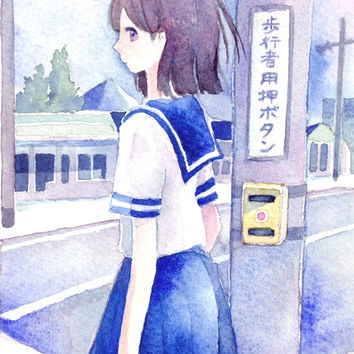 "Original Watercolor Painting  ""信号待ち "" waiting for a traffic light - original illustration,school girl,city illustration"