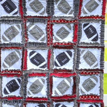 Toddler RAG QUILT, Maroon and Gray Football Applique, Ready to Ship